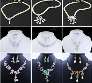 Acrylic Alloy Imitate Pearl Rhinestone Fine Necklace Earring Set