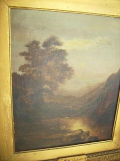 Antique Victorian Oil Painting Alfred Vickers Landscape 1853 1907