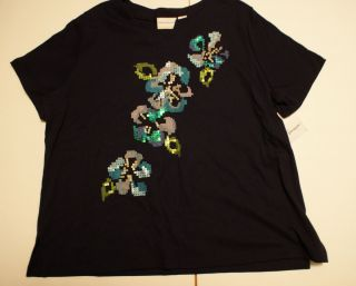 Alfred Dunner shirt Plus size 1X Navy Blue w Sequined Flowers Bright