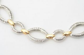 Brighton Alta Silver Gold Crystal Bracelet Large Links Retired Jewelry