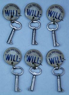 Antique Wendell Willike Campaign Key Pinback Buttons