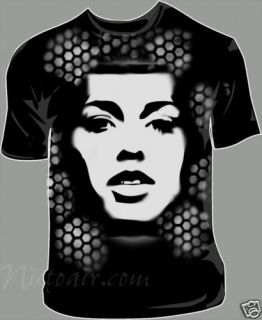 Alicia Keys Airbrushed Stencil Shirt Airbrush