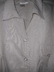 Womens Plus Brown or Gray Stripe Allison Daley Top Shirt Blouse 24W 24