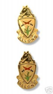 Army Crest 11th Armored Cavalry Motto Allons New Pair