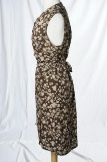 Linda Allard Ellen Tracy Brown Floral Print Silk Sleeveless Wrap Dress