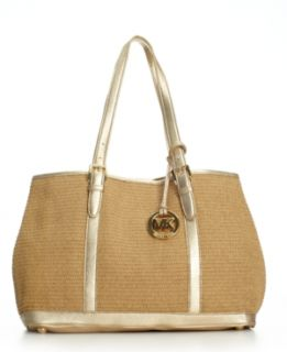 Michael Kors Amagansett LG Tote Bag $168 Paper Straw Gold Leather Trim