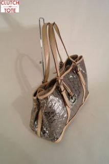 Michael Kors Amagansett Monogram Mirror Metallic Large Nickel Tote