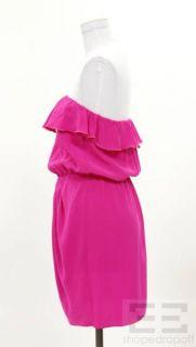Amanda Uprichard Hot Pink Silk Ruffled Collar Dress Size Medium