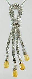 18K White Gold Diamond Amber Pendant Necklace 8 2G