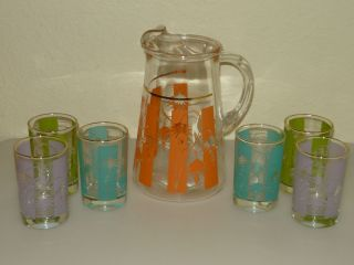 Vtg Mod Retro Atomic Frosted Glass Pitcher Tumblers Drinking Glasses 7