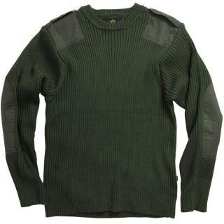 Alpha Industries Military Commando Sweater / Sweatshirt (Olive, S)