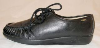 Womens SAS Bounce BLACK Leather Walking Shoes LOAFERS 8.5 N Narrow