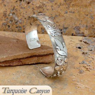 Navajo Native American Petroglyph Sterling Silver Bracelet by Skeets