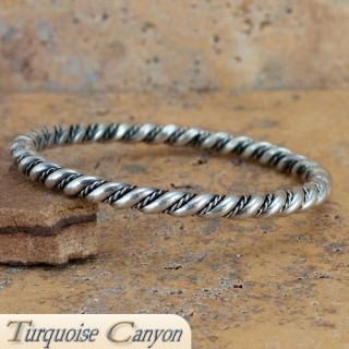 Navajo Native American Sterling Silver Bangle Bracelet SKU 224541