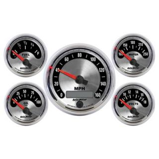 Kit Black Speedometer Water Temp Fuel Level Volt Oil PSI Kit