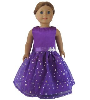 1pcs Doll Clothes Princess Dress FOR18 American Girl New Deep Purple
