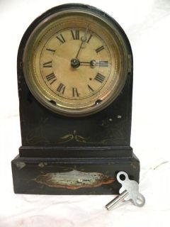 ANTIQUE AMERICAN TERRY CLOCK COMPANY 8DAY TIME AND STRIKE METAL PARLOR