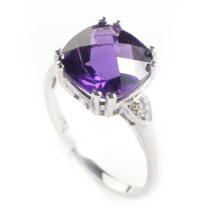 10K White Gold Diamond Amethyst Ring