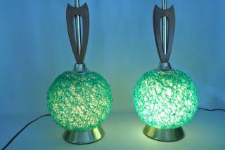 Vintage Mid Century Modern Green Spaghetti Table Lamps Retro Atomic