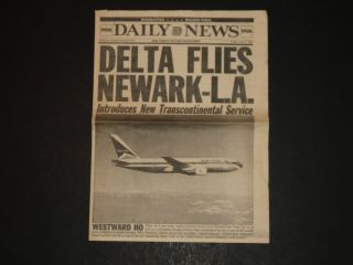 DELTA FLIES NEWARK   LA   Delta Airlines RARE NEWSPAPER from JUNE 1990