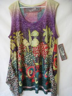 Amma La Womens Tunic Tank Top Multi Color Plus Size 3X Retro Hippie