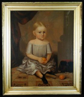 Antique 19C. American Folk Art Young Girl Portrait Painting in Lemon