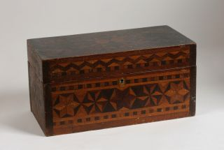 Early American Folk Art Box Inlaid Hexagram Design NY Pennsylvania New