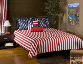 4pc Red/Blue/White American Flag Design Comforter Set Queen