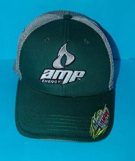NEW Mens AMP ENERGY Drink Hat Green & Mesh Cap Elastic Mountain Dew