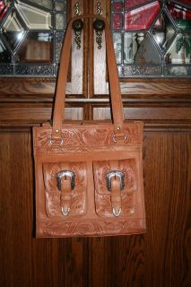 American West Tan Leather Western Purse Hand Tooled Tote with Silver