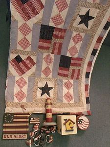 Lot Americana Bathroom Home Decor Shower Curtain Partylite Candle Wall