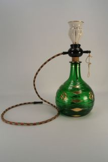 Vintage Mastercraft Water Tobacco Pipe Italy Green Art Glass Vase