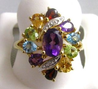Cluster Ring in 10K Solid Gold Peridot Topaz Citrine Garnet Amy