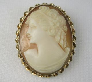 Vintage 12k 1 20 GF AMCO Carved SHELL CAMEO PIN PENDANT Gold Filled