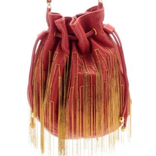 Amrita Singh Red Handbag 18 KT Gold Plated Chain Fringe $250 Necklace
