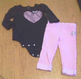 Amy COE Baby Girls Pink Skinny Jeans Silver Hearts Black Top Shirt 2