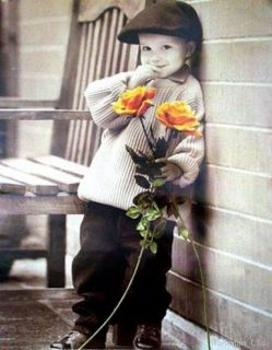 Kim Anderson Boy with Rose Standing Beside Bench Poster
