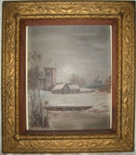 ANTIQUE 19thC AMERICAN FOLK ART OIL PAINTING OLD TENNESSEE SCHOOL AND