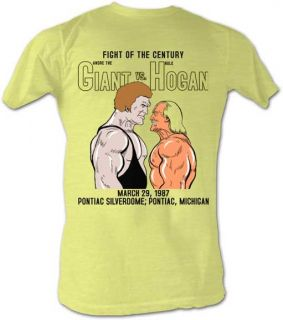 Andre The Giant Fight of Century Hulk Hogan Lightweight Yellow T Shirt