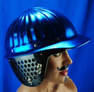 Vtg Industrial Metal Blue Aluminum Hard Hat AO American Optical with