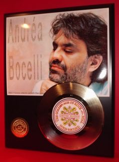 Andrea Bocelli Gold 45 Record Limited Edition Display