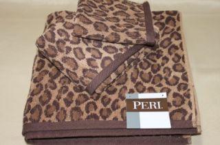 Peri Leopard Cheetah Animal Print Bath Towels 3 Piece