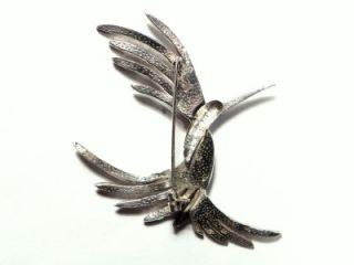 Antique Art Deco Marcasite Silver Phoenix Bird Brooch