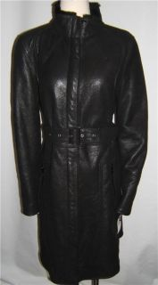 Andrew Marc Black Shearling Long Coat Size Large $2 999