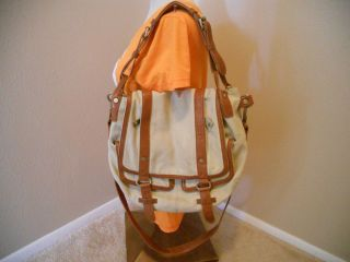 MSRP $375 ANDREW MARC COGNAC BROWN LEATHER CANVAS CROSSBODY STRAP BAG