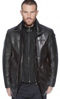 Andrew Marc Mens Legend Black Leather Knit Collar Walking Coat