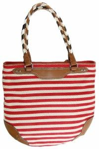 Lauren Ralph Lauren Canvas Andalusia Tote Handbag Purse Red Natural