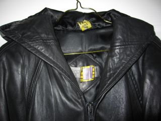 Andrew Marc Black Leather Coat Jacket w Hood L 12 14