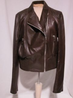 NEW ANDREW MARC WOMENS LEATHER JACKET CHOCOLATE BUTTER SOFT BOMBER