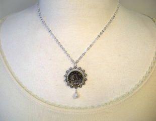Garden Cherub Cupid Angel Vintage Button Necklace